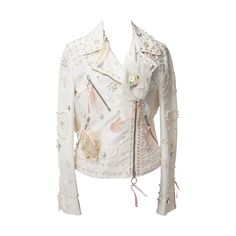 Moschino White Silk Blend Perfecto Biker Jacket Pearls & Bows   From a collection of rare vintage jackets at https://www.1stdibs.com/fashion/clothing/jackets/