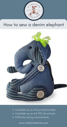 Handmade Products, Handmade Crafts, Handmade Items, Dress Making Patterns, Fabric Toys, Elephant Love, Amazing Gifts, Small Shops, Sewing Toys
