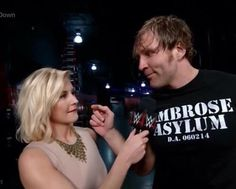 Dean Ambrose and Renee Young on Smackdown February 4 2016