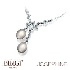 #Bibigì | Collezione Josephie | Collana in oro bianco, diamanti e perle.