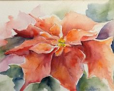 Poinsettia. Watercolor Floral Painting by MichelleMorrisArt on Etsy, $110.00
