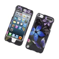 Insten / Purple Flower and Butterfly Glossy 2D Image Protector Case Cover for Apple iPad Touch 5 #2316717