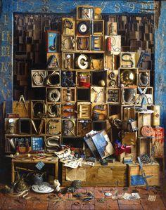Curiosity cabinet by Jacques Poirier Cabinet Of Curiosities, Curiosity Shop, Found Art, Realistic Paintings, Assemblage Art, Box Art, Art Boxes, Medium Art, Figurative Art