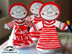 Red and White Paper Doll Templates Easy Crafts For Kids, Craft Activities For Kids, Diy For Kids, Diy And Crafts, Paper Crafts, Petite Section, Baba Marta, Girl Scout Crafts, Bird Crafts