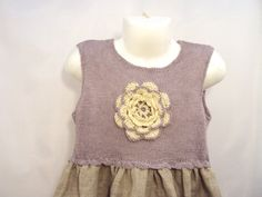 Lilac dress from the organic certified flax, Lilac dream/ ivory, roses, big flower