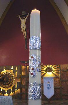Arte Sacro / Sacred Art - Decoración para cirio pascual / Paschal candle decoration by Pedro N. Sacristán 2012.