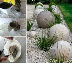 Concrete Yard Concrete Crafts Landscaping With Rocks Landscaping Rocks Backyard Projects Garden Projects Backyard Ideas Flower Bed Designs Gravel Garden Diy Concrete Planters, Cement Art, Gravel Garden, Concrete Crafts, Concrete Garden, Diy Planters, Garden Spheres, Garden Balls, Diy Garden Decor