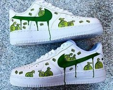 sneakers under 100 Custom Painted Shoes, Custom Shoes, Custom Sneakers, Sneakers Fashion, Shoes Sneakers, Nike Shoes Air Force, Nike Af1, Lit Shoes, Aesthetic Shoes