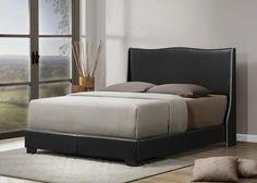 Baxton Studio Duncombe Black Modern Bed with Upholstered Headboard - Queen Size - Black-Platform Beds-HipBeds.com