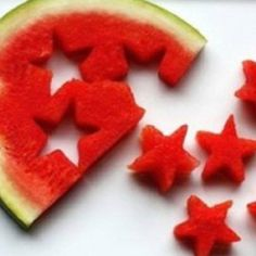 Star shaped watermelon pieces