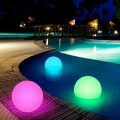 20 - Floating LED Ball Light with Remote. This is perfect for any pool, outdoor living decor, patio, garden or living room. It's waterproof and adds elegance and style ! Lot of 3 Pink Battery Operated 20 LED String Fairy Light Copper Wire.