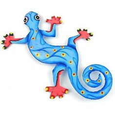 This gecko is handmade in Haiti from recycled oil drums. Each has a small hook to hang the piece, and is painted with a bright colorful design inspired by the local Haitian culture. From head to tail, the gecko is 8 inches long.