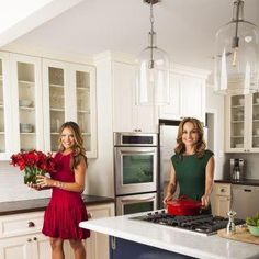 Giada\'s Set Kitchen-Dark Wood, Blue Wall Tiles, Light Countertops ...