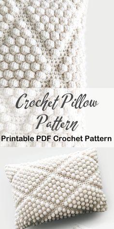 Crochet Pillow Pattern, Bag Crochet, Crochet Diy, Crochet Cushions, Crochet Home, Love Crochet, Crochet Crafts, Knit Pillow, Things To Crochet