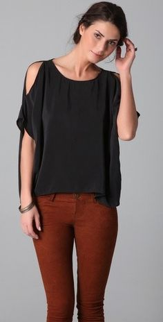 I just bought a shirt like this in baby pink... I have yet to find the perfect bottoms to match it with.