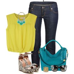 """""""Mustard & Turquoise!"""" by jjanstover on Polyvore"""