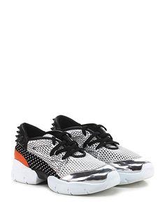 Makris - Sneakers - Donna - Sneaker in eco pelle specchiata, tessuto stampato, tessuto a retina e pelle con borchie su retro e suola in gomma. Tacco 65, platform 25 con battuta 40. - WHITE\ORANGE\BLACK - € 165.00