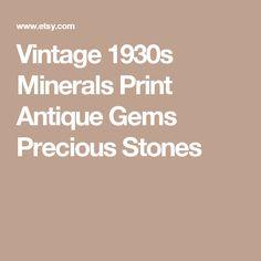 Vintage 1930s Minerals Print Antique Gems Precious Stones