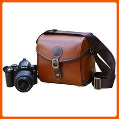 Beige, Orange Leather and Canvas Camera Crossbody Bag Case for Canon FUJIFILM Olympus PENTAX