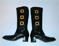 vintage 1960s MOD black leather Go Go boots brass by retrotrend
