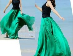 Emerald Green Long Chiffon Skirt Ma..