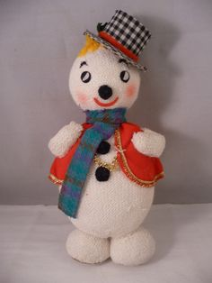 Cute Whimsical Vintage Snowman Doll Decoration Japan