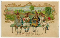 Antique Easter Fantasy Postcard Humanized Dressed Bunny Rabbits Germany EMB Gilt #Easter