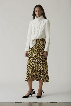 Emory Crepe Wrap Skirt, Black