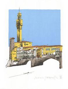 ponte vecchio florence Paul Hogarth Litho print