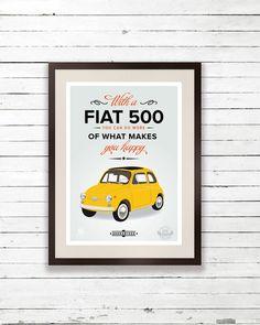 Fiat 500 poster - cinquecento art print poster, vintage italy classic car, retro yellow, art print
