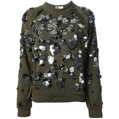 LANVIN embellished sweatshirt ($1,700) ❤ liked on Polyvore featuring tops, hoodies, sweatshirts, sweaters, shirts, maglie, lanvin top, decorated sweatshirts, sweat shirts and lanvin shirt