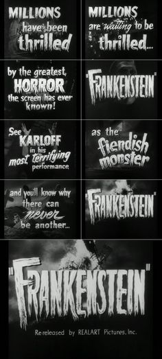 Screen trailer stills for the first of the Frankenstein films. Directed by James Whale in 1931.