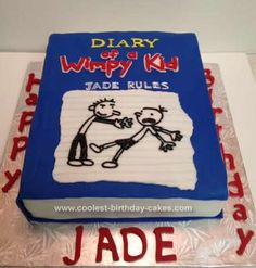Homemade Diary of a Wimpy Kid Birthday Cake: My niece asked me to make a cake for her 8th birthday using the theme Diary of a Wimpy Kid.  I asked her which book was her favorite and took it from there.
