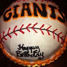 Baseball shaped SF Giants Cake