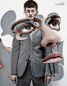 Provocative Puzzle Pictorials - Damien Blottiere for VMAN Presents Cut-and-Paste Images (GALLERY)