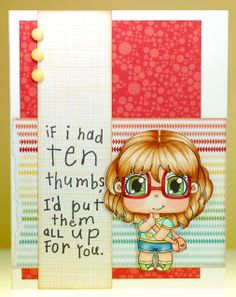 """Cute card from -A Thousand Sheets of Paper- made with www.peeweedesigns.net *NEW* May Collection digi """"Bashful Betty"""""""