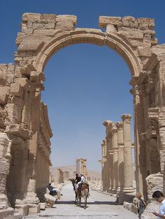 Arch at Palmyra. (I) Triumphal Arch at Palmyra.Palmyra (disambiguation) Palmyra is the ancient Greek name for the Syrian caravan city of Tadmur. Palmyra may also refer to: . Ancient Ruins, Ancient Rome, Ancient Art, Ancient History, Mayan Ruins, Ancient Greek, Ancient Mesopotamia, Ancient Civilizations, Ancient Architecture