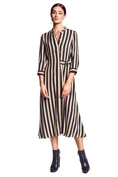 Riani Damen Maxikleid mit Streifen Beige/Schwarz   SAILERstyle Blazer, Elegant, Duster Coat, Dresses For Work, Spring, Tops, Beige, Jackets, Fashion