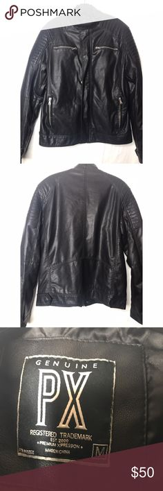 Leather-like bomber jacket Black bomber jacket in faux leather material. Awesome layering piece, complete with contrast detail on shoulders! Genuine Px Jackets & Coats Bomber & Varsity