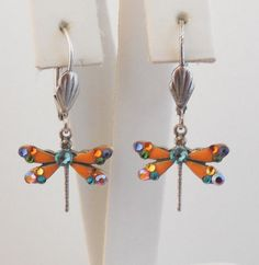 NWT ANNE KOPLIK ORANGE ENAMEL & SWAROVSKI CRYSTAL DRAGONFLY EARRINGS