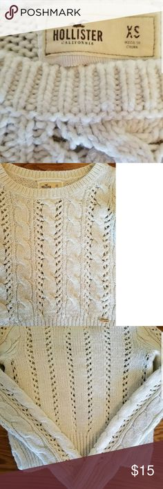 Hollister sweater Hollister sweater, ivory color, size xs It can be see through in some parts because of the design. As shown in pictures. Comes from a smoke-free home and fast shipping!! It is not white, it is an off white. Hollister Sweaters