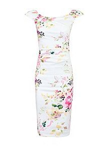 View product Jolie Moi Floral Print Ruched Wiggle Dress