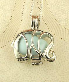 Sea Glass Necklace Elephant Locket Blue Milk Glass