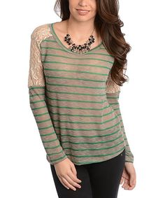 Take a look at the Gray & Green Lace Stripe Top - Women on #zulily today!