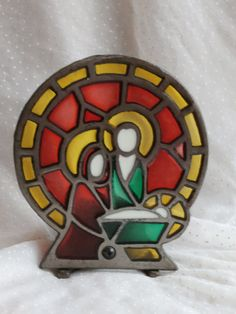 "Vintage Christmas Nativity Scene Iron and Stained ""Glass"" with the Holy Family, $7.99"