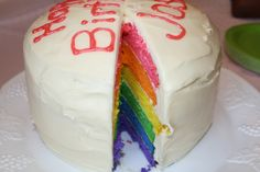 The cake I made for my daughter's 2nd bday.  I decided to do a hot pink layer on top instead of red...