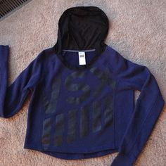 Victoria  secret VSX SPORT HOODIE VICTORIA SECRET VSX sport hoodie  Dark Royal blue with black letters also thumb holes mesh hoodie Victoria's Secret Tops Sweatshirts & Hoodies