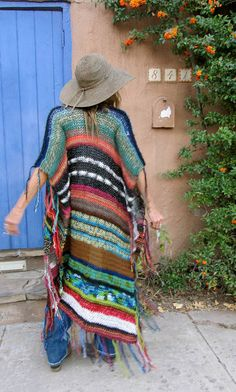 "LONG Handknit Womens Bohemian Festival Hippie Beach Poncho Cape Shawl (""Reserved for Kathryn"") - Women's Clothing Bohemian Mode, Hippie Bohemian, Boho Gypsy, Bohemian Style, Boho Chic, Look Hippie Chic, Gypsy Style, My Style, Winter Hippie"