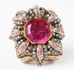 Rubelite, White and Pink Sapphire, Rose a Gold Ring