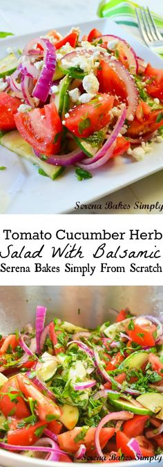 Tomato Cucumber Herb Salad With Balsamic such a perfect summer salad. | www.serenabakessimplyfromscratch.com